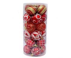 Bola de adorno - Longra ❤️ 24 piezas Xmas bolas brillas elegantes de adorno de decoracion de arbol chucherias de Navidad de color Multicolor (D)