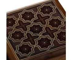 caja de joyería de madera hecha a mano con motivos estrellas handcarved diseño 10,16 cm x 10,16 cm x 5,71 cm