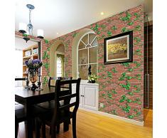 1piezas 45 * 100cm paneles 3D de la pared,Papel Pintado, Ladrillo Pegatina Pared Autoadhesivo Panel Pared Impermeable (45 * 100cm, Multicolor)