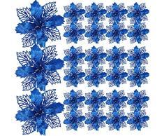 Willbond 20 Flores de Árbol de Navidad Poinsettia Artificial Brillantes Adornos de Árbol de Navidad para Decoración de Boda Navidad Festival Frente de Puerta (Azul)