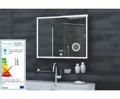 Lux-Aqua espejo de pared espejo con luz LED reloj de pared espejo del baño de espejo de maquillaje interruptor táctil en diferentes tamaños a elegir, 80 x 60 cm