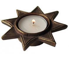 candelero para lamparilla estrella 9 cm bronce noble patina marron