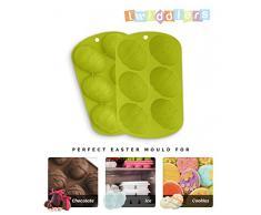 [Paquete de 2] Bandejas de Silicona de Calidad Premium - Huevos de Pascua - Perfecto para Cocinar, Hornear, Cubitos de Hielo, Bizcochos, Caramelos Dulces, Repostería (Green)
