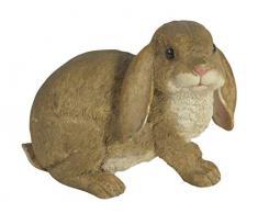 CHICCIE - Conejo de Pascua Sentado de polirresina, marrón, 15 cm, decoración de Conejos de Pascua, decoración de Pascua, Figura de jardín, decoración de jardín