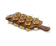 Madera de pino Shot tabla para colocar 12 vasos de chupito - Lote de plumas para Shot de madera para servir bebidas