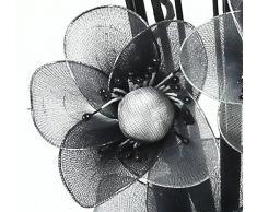 Flourish 796167 - Jarrón ovalado con flores artificiales de seda, 75 cm, vidrio, Pair of Silver/Black/white, 10x10x32 cm