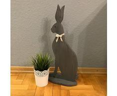 Reneefer | Madera Decoración Pascua XXL Sentado Gris Pascua 60 cm Decoración Primavera Figura Grande Conejo Madera Figura Primavera Decoración en Estilo rústico
