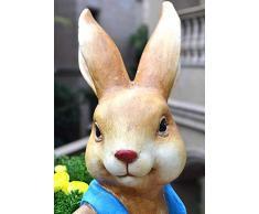 Escultura Animal Conejo Tiesto, 2pcs decoración de Pascua al Aire Libre del césped del jardín Decoración Micro Paisaje