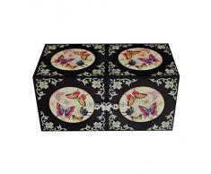 Cofre Cúbico Doble de Madreperla Diseño de Mariposas y Flores para Joyería Bisutería Caja de Madera Organizador