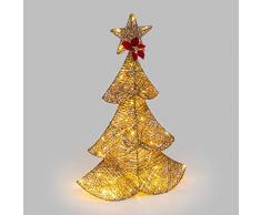Abeto dorado con purpurina, 67 cm, 64 LED luz cálida, adornos navideños, decoraciones luminosas, árbol de Navidad