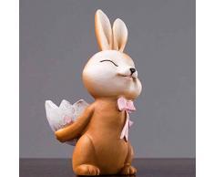 Healifty Resina Conejo Figura Dibujos Animados Conejito Escultura Estatua Coche Tablero Ornamento hogar gabinete decoración para Boda Pascua Fiesta Regalo (al Azar)