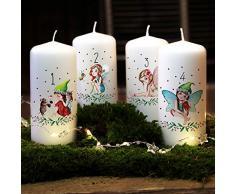Ilka parey Mundial de Diseño Set de Velas de Adviento Vela de Adviento para Corona de Adviento Navidad decoración para niños Elfos y Hadas AK01 - 04