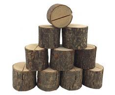 SODIAL Sostenedor de tarjeta de madera de lugar de boda Soporte de numero de mesa para decoraciones de fiesta casa Paquete de 20