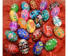 Wooden World Juego de Huevos de Pascua de Madera Pintados a Mano – decoración – 60 x 45 mm – el tamaño del Huevo de Pollo – Ideal para Pascua, Natural, 65x45mm