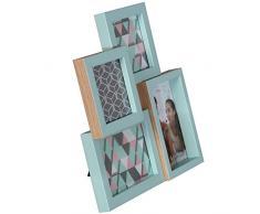 DRW - Portafotos acrílico múltiple para Fotos 2de 10x10cm y 2 de 10x15cm Verde