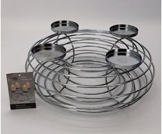 redonda de metal (34 cm Plata Corona Vela soporte de vela Corona de Adviento en blanco Navidad decoración Corona de Navidad Mesa decorativa typ396