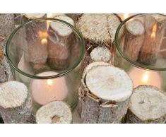 CHICCIE 4 Madera Rama Portavelas Ø 25cm - Corona de adviento Candelero Navidad Estilo rústico Natural Decoración