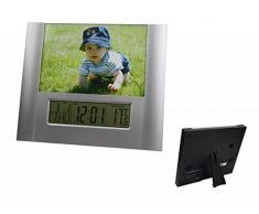 Koch Thermometer - Mesa digital - termómetro habitación con reloj analógico, marco de foto, despertador