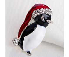 Ruikey Broches de Navidad Pin Rhinestone pingüino corsé suéter bufandas Collar Pin Pin regalo de decoración de Navidad para las mujeres
