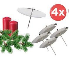 TK Grupo Timo Klingler 4 x para vela Plato Corona de Adviento Conector Vela Conector para corona de Adviento Navidad Corona de Adviento plana con mandril