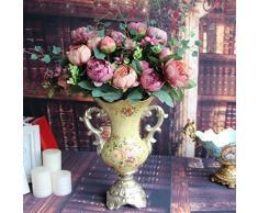 Soledi®1 x Ramo de 12 Peonías Artificiales flores falsas de tela efecto como pintura Adorno para Boda Ceremonias Navidad hogar decoración 4 colores (rosado)