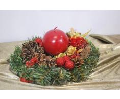 AMP Corona de Navidad, decoración de Navidad, Corona de Adviento de 30 cm - Flores Rojas