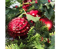 Decorativa corona de Adviento / Navidad, verde-rojo, Ø 55 cm - Corona artificial / Corona floral - artplants