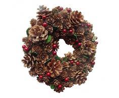 Encantado de piñas y bayas corona de Navidad 22 cm