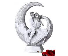 Escultura Formano figura decorativa de pareja de sentado de cerámica blanco/plata altura 40 cm