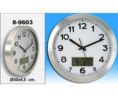 DonRegaloWeb - Reloj de cocina - Reloj de pared redondo de aluminio en color metálico con visor LCD de temperatura y calendario.