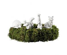 Hutschenreuther 02468-800001-24629 diseño de corona de adviento connettore de porcelana 4 animales, altura 3,7 - 6,5 cm, blanco