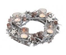Corona de adviento de madera con inserciones de vela de cristal