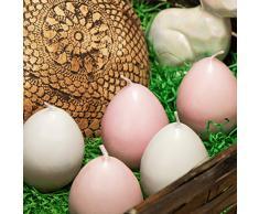 com-four® 12x Vela Huevo de Pascua para decoración - Velas en Forma de Huevos de Pascua - Velas de Huevo para decoración de Pascua [la selección varía] (12 Piezas - Blanco + Rosa)
