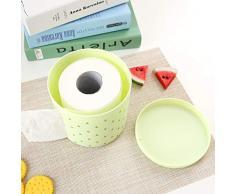 Jiuyizhe Caja de pañuelos de plástico Caja de pañuelos Redonda Caja de pañuelos de Papel Toalla de Papel Caja de pañuelos Frescos (Color : Green)