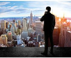 XXL Póster New York Skyline horizont - decoración ocaso Manhattan Penthouse Vista desde el ático america USA deco Big Apple NYCXXL | foto póster mural imagen deco pared by GREAT ART (140 x 100 cm)
