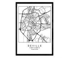 Nacnic Lámina Mapa de la Ciudad Seville Estilo nordico en Blanco y Negro. Poster tamaño A3 Sin Marco Impreso Papel 250 gr. Cuadros, láminas y Posters para Salon y Dormitorio