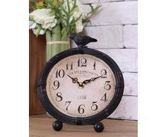 Reloj de escritorio La vendimia con el pájaro de metal redondo Negro decorativo