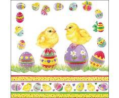 Servilletas de Pascua – huevos de pollitos, 3 capas servilletas de papel, 33 x 33 cm