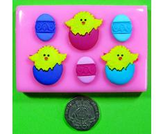 Pascua pollitos y huevos de Pascua pastel de molde de silicona para decorar tartas, cupcakes Icing Sugarcraft Herramienta de hojalata Blessings