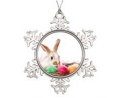 Mesllings Figura Decorativa de Conejo de Pascua, decoración navideña para niños, decoración única de día Festivo, decoración de Regalo, Copo de Nieve Personalizado, Adorno de Metal