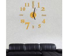 Malloom Mini moderno reloj de pared de DIY etiqueta engomada 3D Diseño del sitio casero de decoración de la oficina (oro)