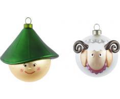 Alessi AJM14SET4 Pastorello und Pecorello - Decoración para el árbol de Navidad (2 piezas), diseño de pastor y oveja