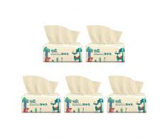 Deajing Papel Higienico, Papel de Baño, Toallas de Papel Pañuelos de Papel Suave y Sedoso Papel Higiénico de Pulpa de Madera Nativa Multifold Toallas de Mano sin Blanqueador (5PCS)