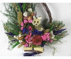 Perchero de pared con diseño de corona de flores de puerta de abedul de búho de madera de material De colour rosa-lila de tamaño grande