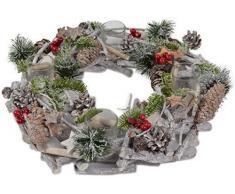 Portavelas de piñas de la vendimia de adviento en forma de corona de Navidad con las ramas de bayas - 36 cm de diámetro CC - Corona decorativa de decoración de la Navidad