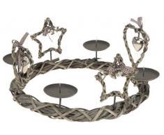 Corona de adviento 33 cm gris - Country XMAS Serie - estrella corazón Portavelas