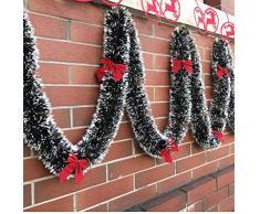 2m de Navidad Tops Barra de la decoración del árbol de Navidad Fiesta de la Cinta de la Guirnalda de Navidad Adornos Blanca Verde Oscuro Caña de oropel
