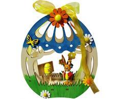 Pascua LED Habitación Decoración Ventana Decoración Pascua de madera. iluminado 15 X 4,5 X 18,5 cm primavera decoración conejo Figura (75732 a)