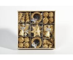 Brauns Heitmann 83063 - Adornos de paja para árbol de Navidad (30 unidades, diferentes formas y figuras, 3-6 cm)