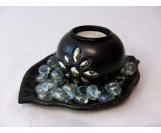 Bola Candelabro/portavelas con plato y piedras decorativas/hojas diseño